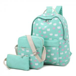 Canvas Cat Print 3 Pieces Backpack Set