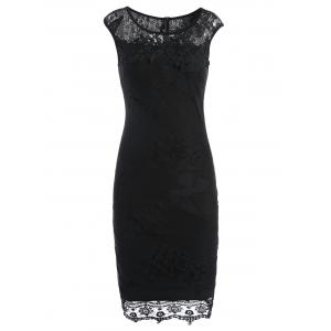 Lace Panel Sleeveless Pencil Sheath Dress - Black - M