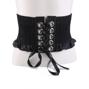 Lace Up Pleated Metallic Rings Corset Belt - Black - Xl