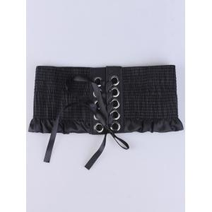 Lace Up Pleated Metallic Rings Corset Belt - BLACK