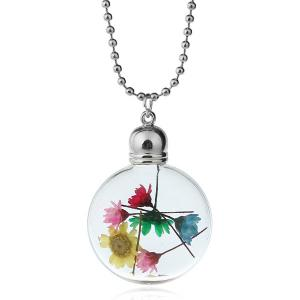 Dry Floral Heady Glass Ball Pendant Necklace - MULTICOLOR