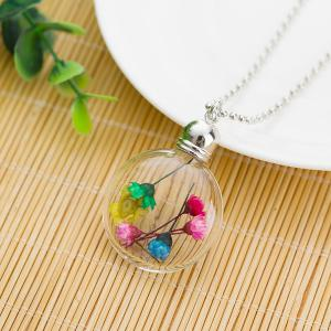 Dry Floral Heady Glass Ball Pendant Necklace