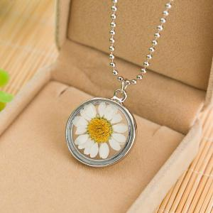 Sunflower Glass Round Pendant Necklace