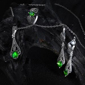 Vintage Faux Emerald Teardrop Jewelry Set - GREEN