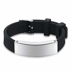 Stainless Steel Silicone Wristband Bracelet