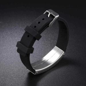 Stainless Steel Silicone Wristband Bracelet -