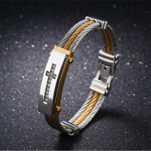 Stainless Steel Rhinestone Crucifix Bangle Bracelet