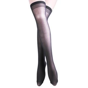 Skinny Stripe Brim Stockings - Black