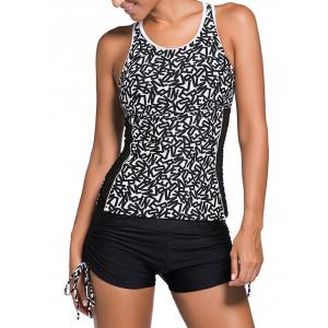 Mesh Panel Graphic Cut Out Tankini Set - White And Black - S