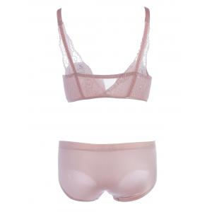Front Close Seamless Bra Set with Lace Panel - PINK 85C
