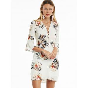 Flare Sleeve Floral Print Lace Up Bodice Dress