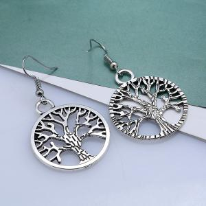 Tree of Life Circle Hook Earrings - SILVER