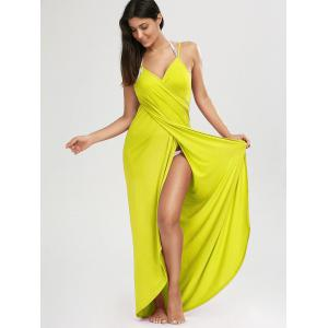Beach Maxi Wrap Cover Up Slip Dress - YELLOW XL