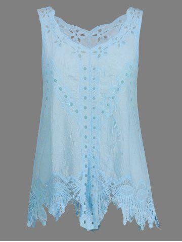 Bohemian Scoop Neck Crochet Sleeveless Solid Color Blouse For Women - Light Blue - One Size