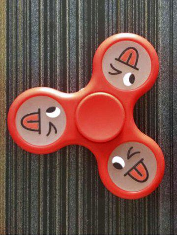 Online Smiling Face Stree Relief Focus Toy Triangle Fidget Spinner BRIGHT RED