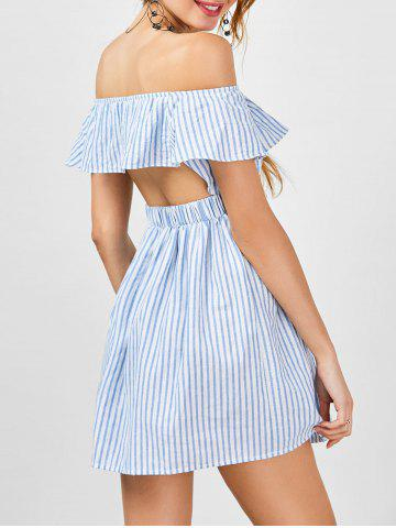 Discount Off The Shoulder Cut Out Striped Dress