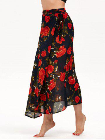 Floral Print High Waisted Chiffon Wrap Skirt - Purplish Blue - One Size