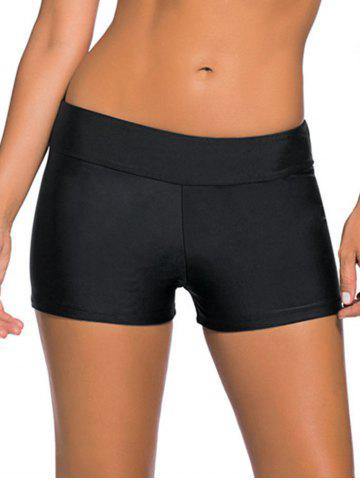 Mid-Waist Boyleg Shorts - Black - Xl