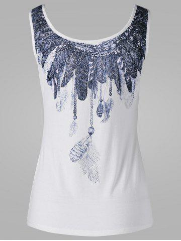 Best Scoop Neck Feather Print Tank Top - XL WHITE Mobile