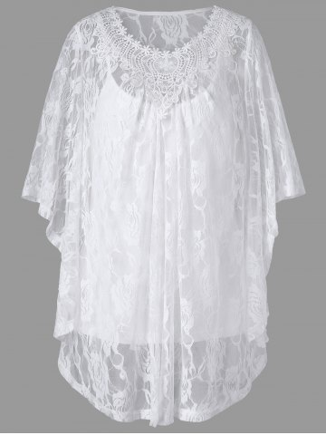 Shop Plus Size Butterfly Sleeve Lace Blouse and Camisole - 5XL WHITE Mobile