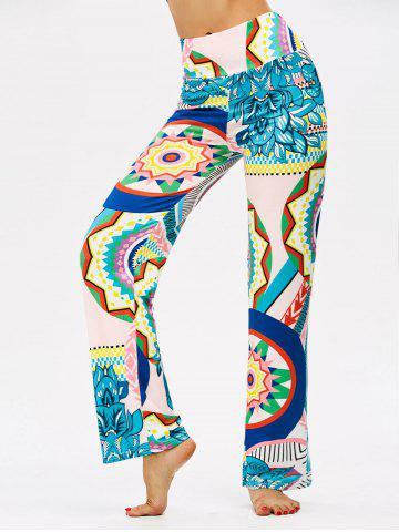 Colorful Print High Waisted Boho Pants - Multi - Xl