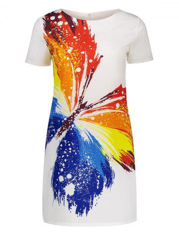 Short Sleeve Mini Butterfly Print Dress - White - Xl