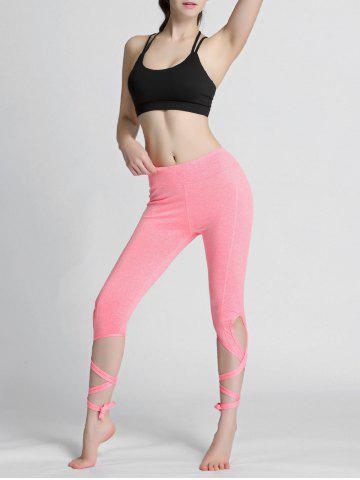 Buy High Waisted Lace Up Gym Leggings - L PINK Mobile