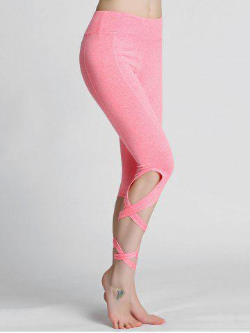 Sale High Waisted Lace Up Gym Leggings - L PINK Mobile