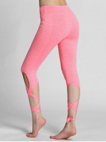 New High Waisted Lace Up Gym Leggings - L PINK Mobile
