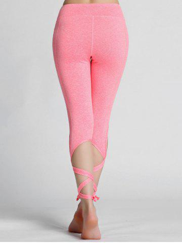 Trendy High Waisted Lace Up Gym Leggings - L PINK Mobile