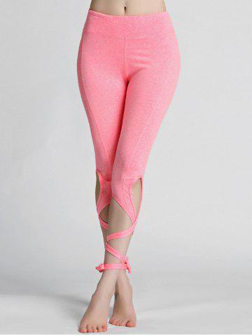 Cheap High Waisted Lace Up Gym Leggings - L PINK Mobile