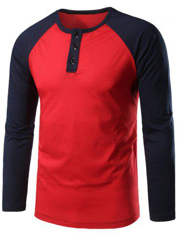 Store Raglan Sleeve Buttoned Two Tone Tee - RED M Mobile