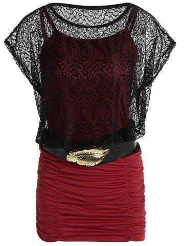 Lace Panel Ruched See Through Belted Dress - Red - Xl