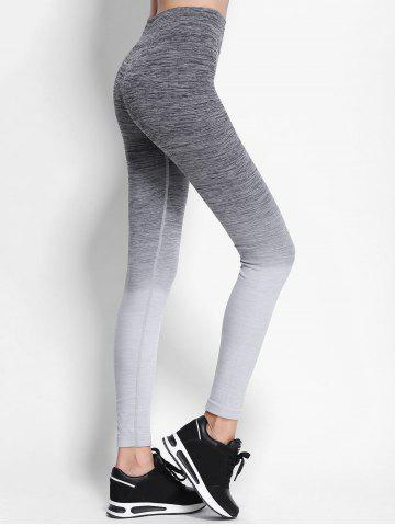 Hot Ombre High Waist Skinny Running Leggings - M GRAY Mobile