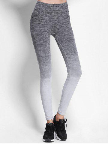 Buy Ombre High Waist Skinny Running Leggings - M GRAY Mobile