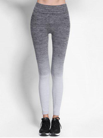 Trendy Ombre High Waist Skinny Running Leggings - M GRAY Mobile