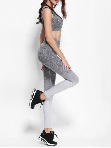 Latest Ombre High Waist Skinny Running Leggings - M GRAY Mobile