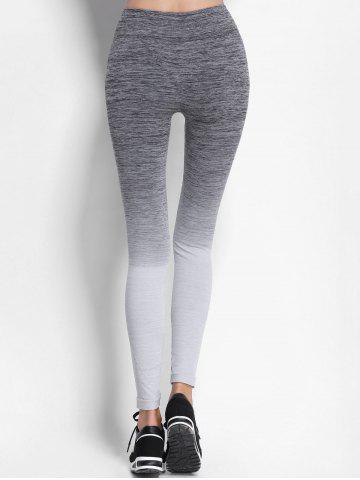 Chic Ombre High Waist Skinny Running Leggings - M GRAY Mobile