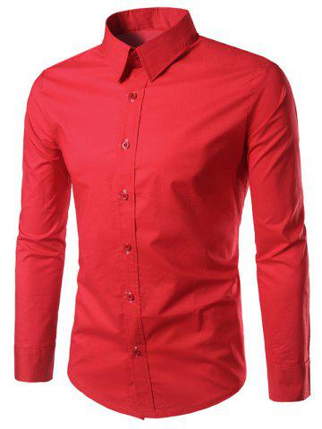 Best Long Sleeves Button Up Shirt - RED L Mobile