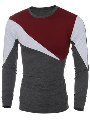 Long Sleeve Color Block Irregular Panel T-Shirt - Wine Red - L