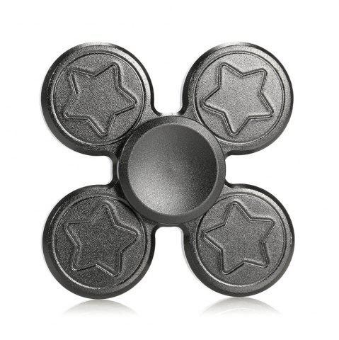 Discount Finger Metal Fidget Spinner Toy with Star Print DEEP GRAY 6.5*6.5CM