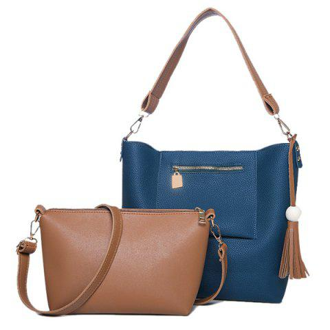 Outfits Tassel Wood Ball Shoulder Bag and Crossbody Bag - BLUE  Mobile