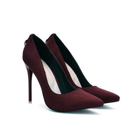 Online Mini Heel Metal Pendant Pumps WINE RED 38