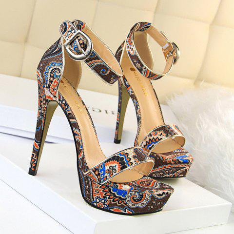 Ankle Wrap Ethnic Platform Stiletto Heel Sandals - Coffee - 38