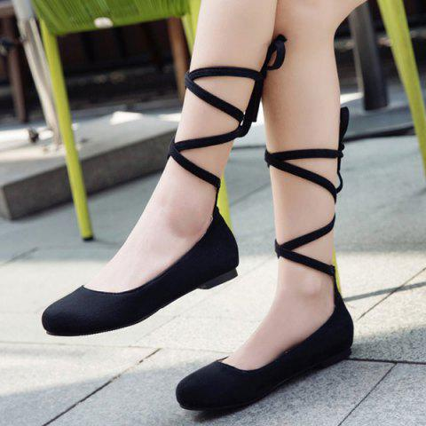 Latest Lace Up Round Toe Flat Shoes - 37 BLACK Mobile