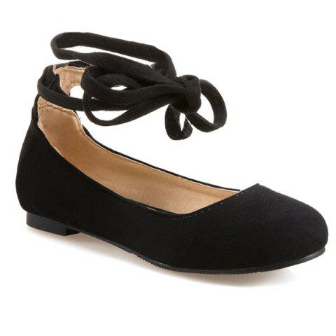 Trendy Lace Up Round Toe Flat Shoes - 37 BLACK Mobile