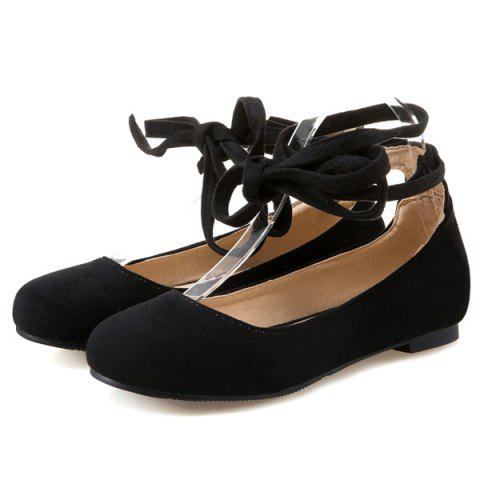 New Lace Up Round Toe Flat Shoes - 37 BLACK Mobile