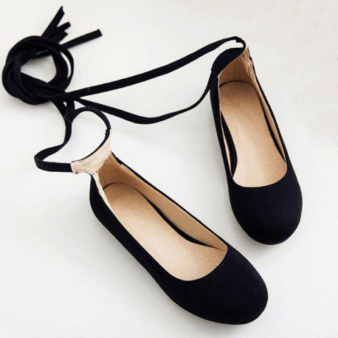 Affordable Lace Up Round Toe Flat Shoes - 37 BLACK Mobile
