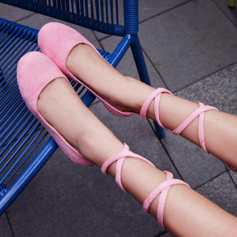 Trendy Lace Up Round Toe Flat Shoes - 39 PINK Mobile