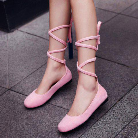 Shop Lace Up Round Toe Flat Shoes - 39 PINK Mobile